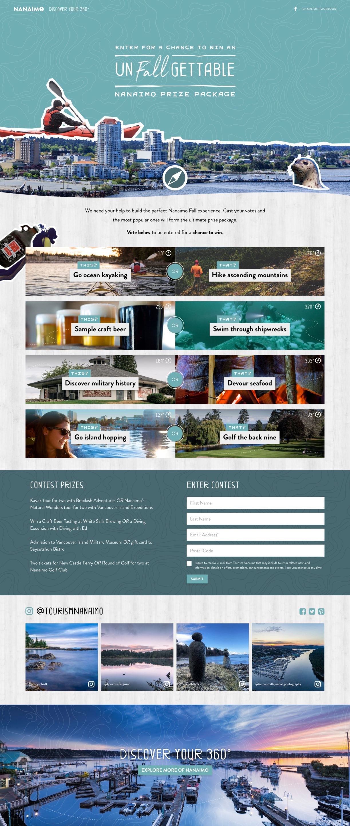 Tourism Nanaimo | This or That campaign landing page